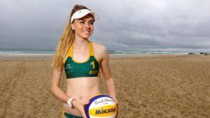 девушка с волейбольным мячом